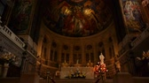özveri : Interior and altar of the Basilica Saint Therese or Lisieux, Normandy France, TILT Stok Video