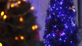 граница : Two Christmas Trees Decorated With Blue Christmas Tree Toys And Christmas Decorations