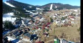 A Small Village, Situated In A Beautiful View Of The Mountains. Mountain Panorama. Aerial Photography. Prores