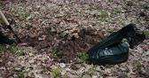 demet : The Perpetrator Digs A Pit In The Woods To Bury Stolen Things In A Black Bag. Criminal Concept. Close Up. Prores, Slow Motion