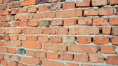 덮개 : red brick and stone wall with damaged old brick, background for design
