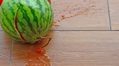 fresh watermelon dropped to the floor at normal speed and 5 times slow motion
