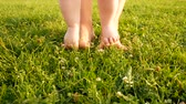 lawn : Little baby learns to walk. Slow Motion. Mother is teaching her child to do the first steps on a green grass in summer. Toddler is learning to walk outdoors on a green lawn. Close up on feet. Stock Footage