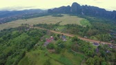 laosz : View at Vang Vieng from Hot Air Baloon