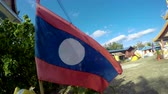 ветер : Waving Laos Flag Стоковые видеозаписи