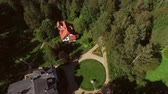 Healthy lifestyle in summer villa. Shooting from a helicopter, the suburban real estate Wideo