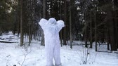 neanderthal : Yeti fairy tale character in winter forest. Outdoor fantasy slow motion footage. Stock Footage
