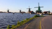 wiatrak : General view of traditional Dutch windmills, Netherlands. HD Footage. Wideo