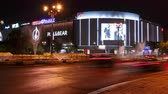 piata : A night timelapse traffic view of the busy roundabout at Union Square (Piata Unirii) in Bucharest. Stock Footage