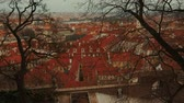 mala : A romantic postcard panoramic view of Prague Old Town District (Mala Strana) framed by Winter trees (Prague, Czech RepublicCzechia).