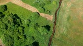 река : Aerial view of a river flowing through green meadow and trees, rural scenery