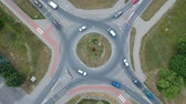 Aerial footage, roundabout intersection in city Stok Video