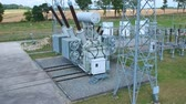 High voltage energy transformer station, aerial view Stok Video