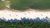 Aerial view on sand beach with sunbathers, sea waves and forest Stok Video
