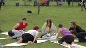 yoga mat : Russia, Moscow - June 1, 2017 : Big group of young adults attending a yoga class outside in park in Moscow, Russia on June, 2017