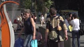 Tbilisi, Georgia - August 15,2017: People walking from the subway on August 15,2017. Tbilisi has a population of 1.5 million people Stok Video