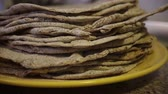 bakery : flatbreads on the plate Stock Footage
