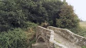 passarela : Aerial view, backwards move revealing two old stone bridges over overgrown water stream in english countryside.