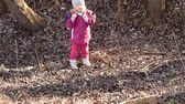 junco : Adorable little girl in the nature in winter Stock Footage