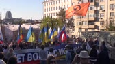política : Moscow, Russia - September 21, 2014. Peace March in Moscow against war with Ukraine Stock Footage