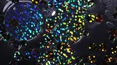abridor : Abstract video clip. Multicolor sequins movie down, glowing paillette close-up. Background for tv show intro, opener, party, clubs, event, music clips, advertising footage. Slow motion