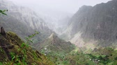 овраг : Stunning panorama of mountain ridge. Verdant Xo-Xo valley on Santo Antao Island Cape Verde. 4k video