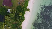 cores vibrantes : 4k aerial view vertical spining move up footage from girl sitting on a white sand beach surrounded by crystal clear turquoise shallow ocean and pam trees on tropical island