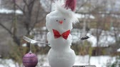 first : The snowman first snow, dressed for Christmas. Is hat, with bow-knot and Cutlery. In a spoon of sunflower seeds for the birds.