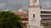 Penang Malaysia - May 2, 2018: aerial shot of the Victoria Memorial Clock Tower, Georgetown, Penang