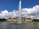 OBERSCHLEISSHEIM, GERMANY - Panoramic view of Schleissheimer castle near Munich from the baroque garden with the water fountains