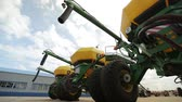 the trailer combines with the screw tubes are parked for agricultural machinery