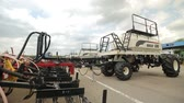 trailers for harvesters plows are parked for agricultural machinery Dostupné videozáznamy