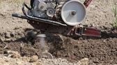 machinery : Plowing the soil with a motoblock Stock Footage