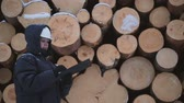 check list : Worker with tablet against pile of logs
