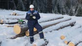 check list : Worker with tablet near pile of logs in the forest