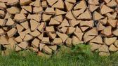 cıvata : Whole timber logs on green grass