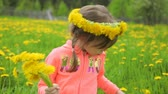 yellow flower : Little girl on dandelion meadow Stock Footage