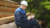 registrar : Worker with pad sitting on pile of logs
