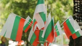 feira : Small bulgarian flags on street market