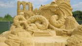 dragão : BURGAS, BULGARIA - JULY, 2018: Annual sand sculpture exhibition