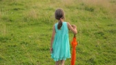 Little girl walking on field