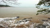 panning : sea wave with stone at Khao Laem Ya in Mu Ko Samet National Park, Rayong Province, Thailand Stock Footage