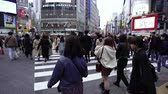 cruzamento : TOKYO, JAPAN - March 25, 2019: crowds of people walking across at Shibuya famous crossing street in Tokyo, Japan Vídeos
