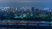 panning : time lapse of Tokyo cityscape at night, Japan Stock Footage