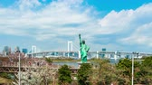 socha : TOKYO, JAPAN - MARCH 28, 2019: time lapse of unidentified tourist visited the Statue of Liberty and Rainbow bridge at Odaiba in Tokyo, Japan