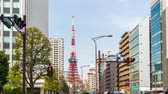 japon kültürü : TOKYO, JAPAN - March 25, 2019: Time lapse of urban life and traffic on street in Tokyo city, Japan