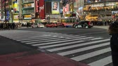 attraversamento pedonale : TOKYO , JAPAN - March 25, 2019: time Lapse of people and cars across at Shibuya famous crossing street at night in Tokyo, Japan