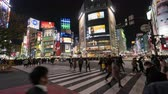 дорожный знак : TOKYO , JAPAN - March 25, 2019: time Lapse of people and cars across at Shibuya famous crossing street at night in Tokyo, Japan