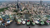 skywalk : Bangkok, Thailand – Jul 27, 2019 : time lapse of unidentified people with panoramic view on 78th floor at King Power Mahanakhon building rooftop, Bangkok, Thailand