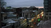 Cars moving in the city centre of Kharkiv, Ukraine late in the evening, timelapse